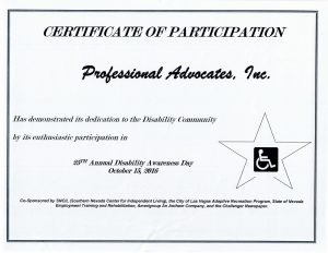 Disability Fair Certificate